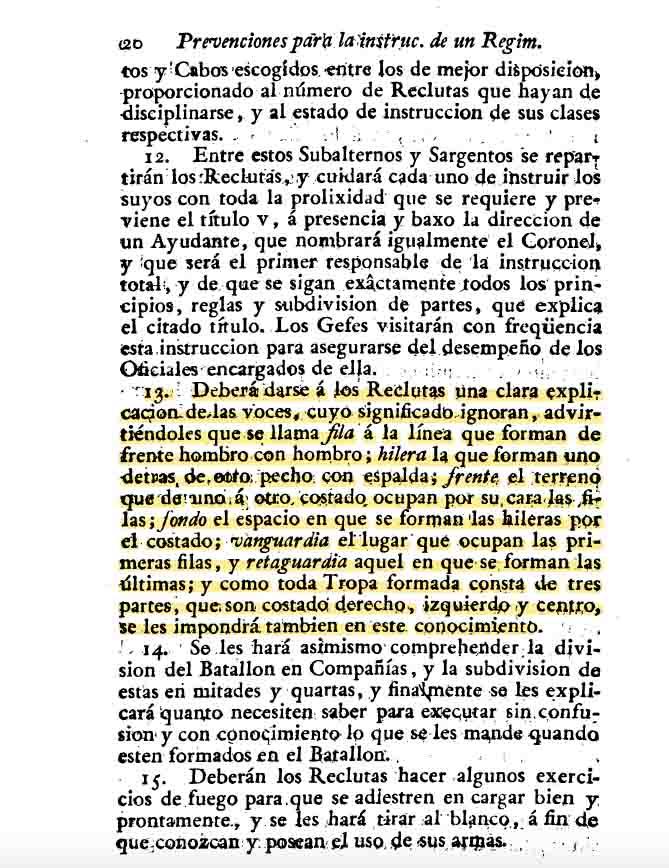Nomenclatura en instrucció militar del s. XIX